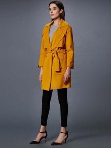 艾诺丝·雅诗女装秋冬新品黄色风衣
