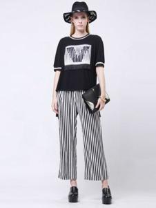 VOING唯一女装新品条纹阔腿裤 款号272030