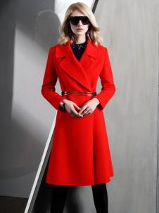 DITTO迪图女装秋冬新品红色收腰呢大衣