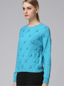 VIVIdion女装蓝色针织线衫