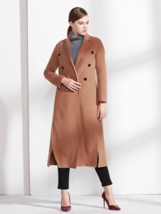 爱为女装咖啡色开叉呢大衣