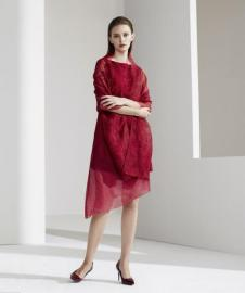 BBLLUUEE Color粉蓝时尚2017春夏新品红色连衣裙