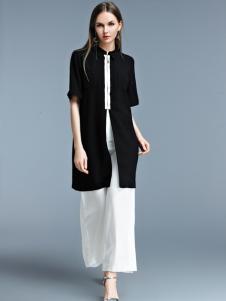 艾丽哲黑色雪纺外套