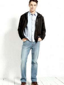 第五街男款浅色宽松牛仔裤