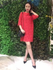 ANNIEP安妮皮诺女装红色蕾丝裙