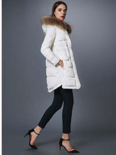 艾诺丝·雅诗女装秋冬新品白色连帽羽绒服