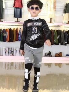007童品童装新品男童条纹卫衣