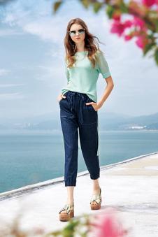 羽之莉2017年春夏新款七分牛仔裤