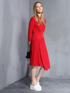 安娜ANNA女装秋冬款红色连衣裙