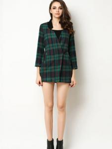 Sanlady女装格纹时尚设计感大衣