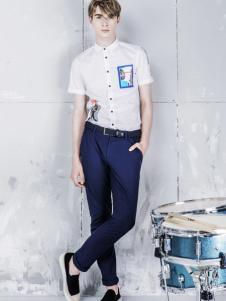 L2男装新品短袖立领衬衫
