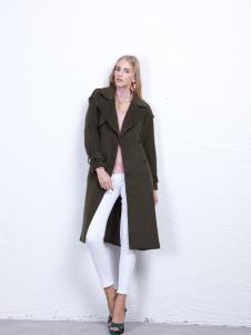丹尼布鲁军绿色长款外套