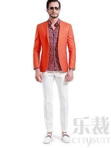 樂裁2017新款橙黃色定制西裝
