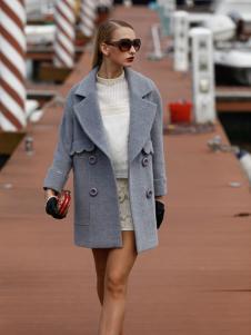 芭藜衣都女装灰色大翻领呢大衣