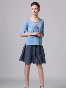 Phidias菲迪雅丝女装蓝色圆领上衣