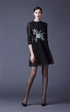 SUSSI古色2017春夏女装黑色两层修身连衣裙