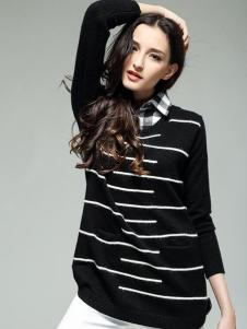 KISSFAD吻时尚女装黑色白条纹毛衣