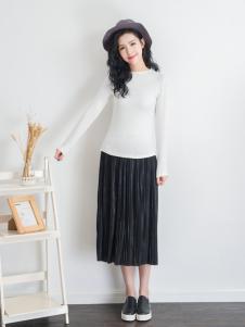 天使韩城黑色百褶半裙