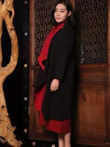木棉道女装新品黑色长款外套