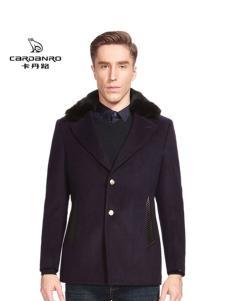 卡丹路男装毛领翻领呢大衣