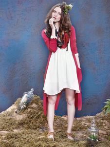 素言女装红色长衫外套