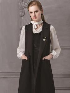 HelenModa女装新品黑色长款马夹