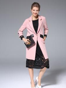 ZIMMUR2017春季新款粉色大衣