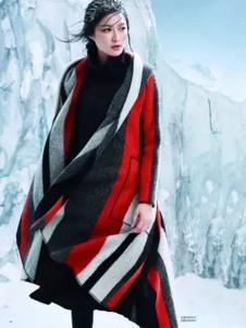 奥依岛女装条纹多色拼接大衣外套