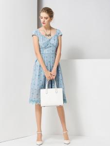 经典故事浅蓝时尚连衣裙
