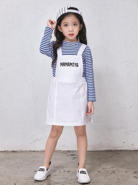玛玛米雅女童白色背带连衣裙