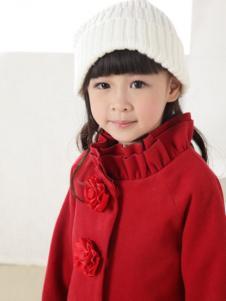 比比我童装红色立领女童呢大衣