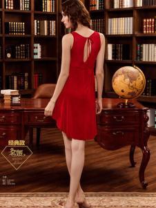 迪芬娜红色性感睡裙