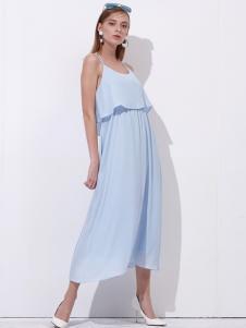 雷索思天蓝色吊带连衣裙