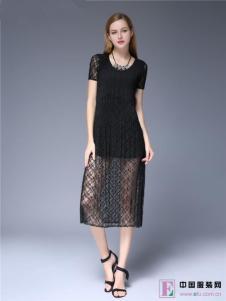 爱褶衣2017新款欧式薄纱黑丝裙
