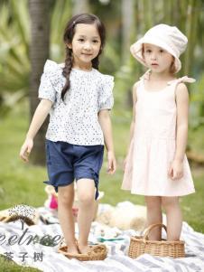 茶子树童装春夏装泡泡袖波点上衣