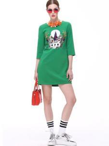 Diface丹菲诗女装绿色印花T恤裙