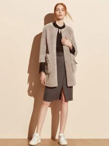 迪赛尼斯女装灰色中长款外套
