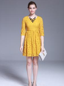 爱为女装黄色蕾丝连衣裙