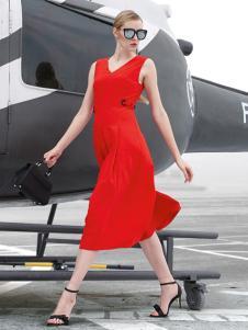 雷索思红色无袖V领连衣裙