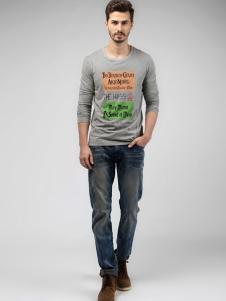 贝斯伟福路男装灰色字母印花T恤