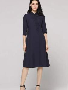黛英女装2017春夏新品中式立领连衣裙