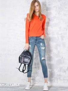 淿素女装BELLO SZ淿素女装橙色圆领套头上衣