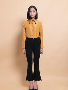 37度love女装长款黄色衬衫