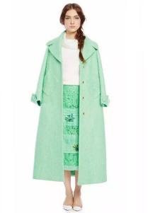charfen朝峰女装嫩绿色长款大衣