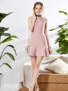 城市衣柜粉色无袖鱼尾连衣裙