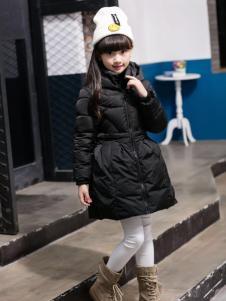 淘淘猫女童黑色A字版羽绒服