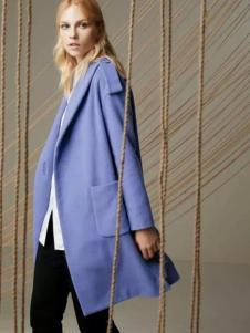 帝伦奴那女装蓝紫色大衣