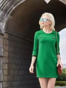 布根香女装2017春装新品绿色修身连衣裙