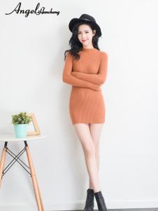 天使韩城中长款包臀针织连衣裙