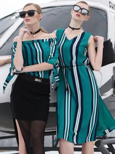 雷索思绿色条纹无袖V领连衣裙